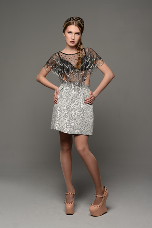 glam rock: Young girl in the dress
