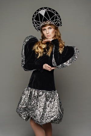 glam rock: Young beautiful girl in the dress of Russian style