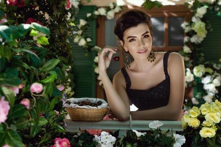 Young beautiful girl dressed in Italian style