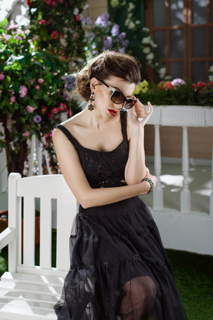 studioshoot: Young beautiful girl dressed in Italian style