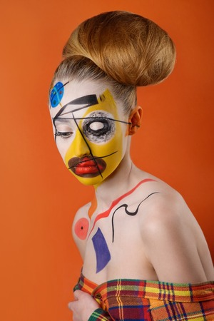 body art: Young model with body art in Kandinsky style Stock Photo