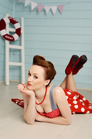 beatiful: Young beatiful girl dressed at pin-up style Stock Photo