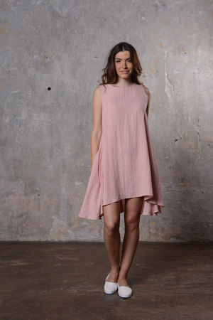 summer dress: Young beauriful girl in the summer dress