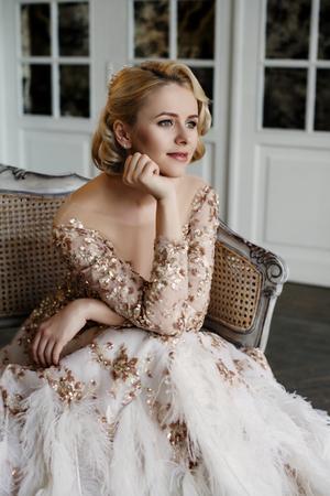 Beautiful lady in luxury dress Stock Photo