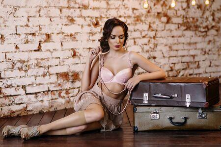 boudoir: Young girl in lingerie at her boudoir