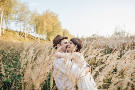 Love story of young couple at nature
