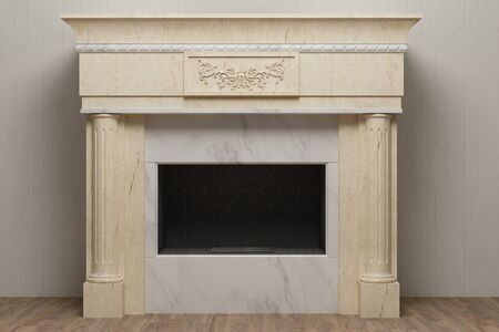 Elegant stone fireplace in home interior Stockfoto
