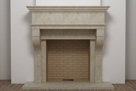 Stone fireplace with fire in home interior Standard-Bild
