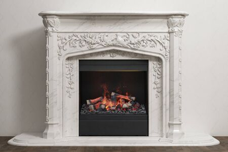 Stone fireplace with fire in home interior