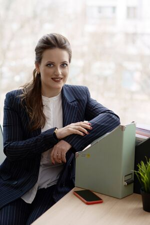 Young business woman dressed in elegant style 免版税图像