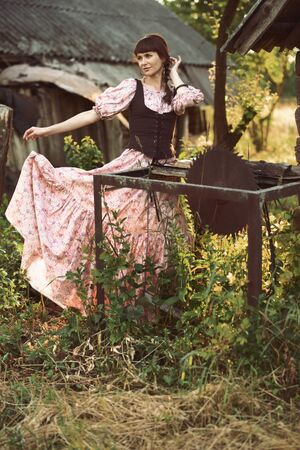 Pretty girl in long dress at the countryside 免版税图像