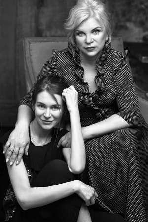 Mature mother and her beaituful daughter 版權商用圖片