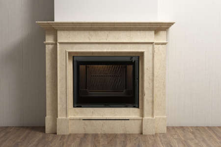 Marble fireplace with a cast iron insert