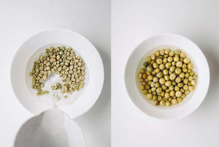 Soaking green pea seeds in warm water in bowl to fasten germination process when planting in garden. Before soaking on left after overnight soak on right. Stockfoto