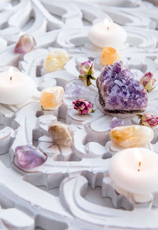 Semi precious stone crystal grid in home helps intentions to manifest concept. Alternative lifestyle. Relaxation and balance, wealth. Side view, selective focus.