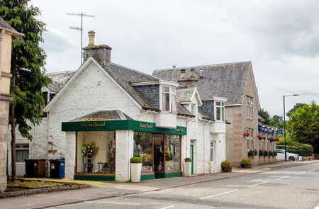 Newtonmore,Highland/Scotland-24AUG2019: Popular label Harris Tweed store in small village of Newtonmore in Scotland, United Kingdom.