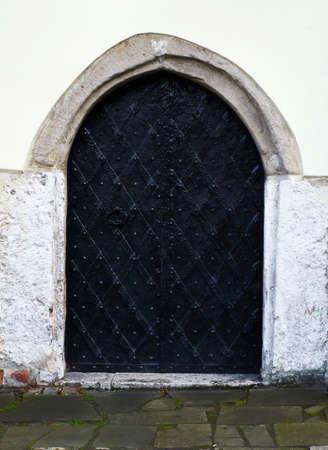 jewish: old door of jewish church in krakow