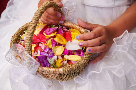 flowergirl: wedding flower basket Stock Photo