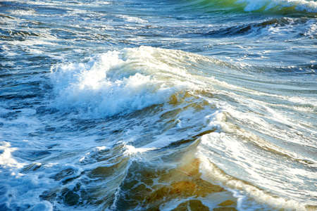 blue green water in stormy sea