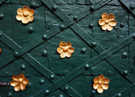 synagoge: old door with golden ornaments
