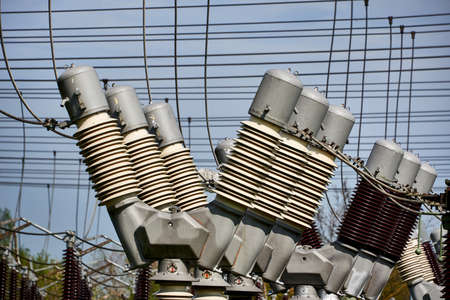 electricity sub transformer station Stock Photo