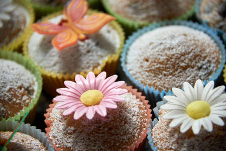 fresh tasty muffins with decoration Stock Photo