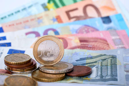 paying: Euro currency closeup