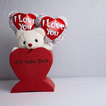 Stuffed bear in white, two balloons with the words I love you stuck in a red heart with the words I love you Banco de Imagens