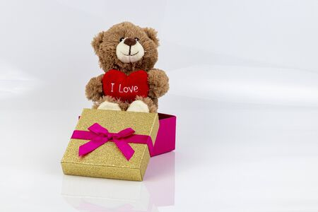 Stuffed bear with a heart and the words
