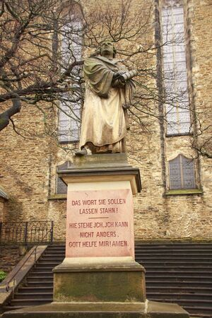 reformation: Luther monument in annaberg-buchholz in saxony