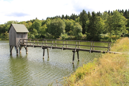 Footbridge in Kranich pond in Hahnenklee near Goslar in Harz. the fodder regulates the water drainage of the lake. Banco de Imagens