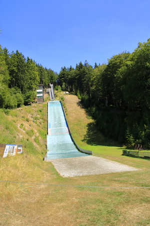 Ski jumping facility on the Wurmberg in the Harz near Goslar in summer with sunshine Stock fotó