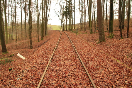 Railway tracks run straight away from the viewer Stockfoto - 117487839