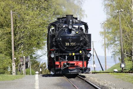 Steam locomotive of the Zittau narrow-gauge railway in Jonsdorf station