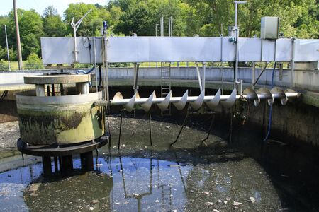 Mud formation in the secondary clarifier of a sewage treatment plant, which was emptied for inspection work