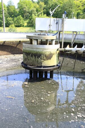 K?nigsstuhl and pump sump in a secondary clarifier that was emptied for cleaning