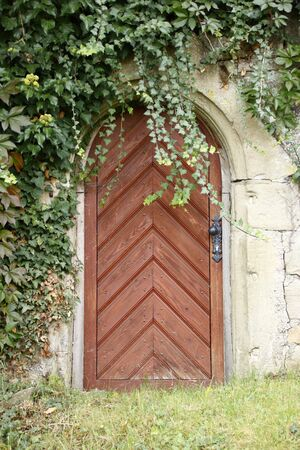 Wooden door in a brick wall