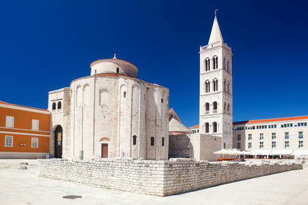 ZADAR, CROATIA - Forum square with Church of St. Donat at summer
