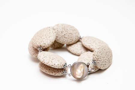 scoria: Elegant bracelet from volcanic lava rock with silver