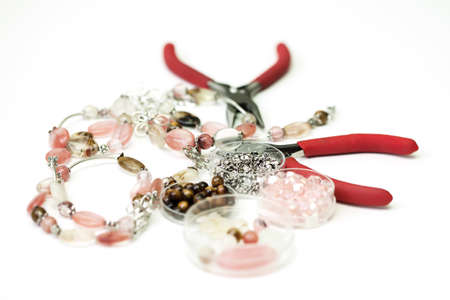 necklase: Necklase made ofglass beads unfinished in process of completing