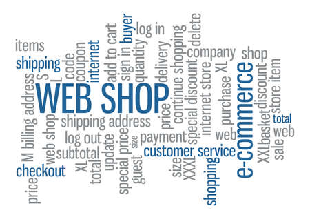 Web shop word cloud tag concept in vector on white background Vector