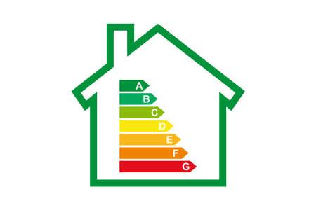 Sistema de eficiencia energética certificación Valores del alojamiento en el vector Ilustración de vector