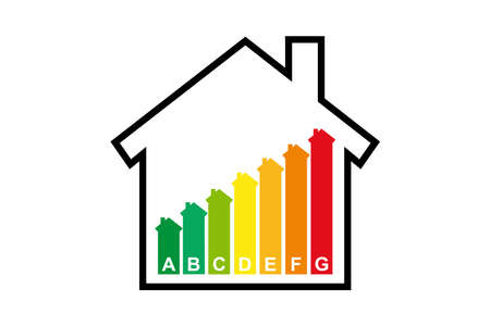 Housing energy efficiency rating certification system in vector Vetores