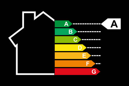 Housing energy efficiency rating certification system in vector Vector