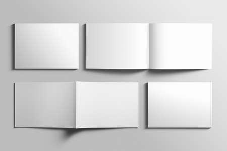 Leeres A4 photorealistic Landschaftsbroschürenmodell auf hellgrauem Hintergrund. Standard-Bild - 87245347