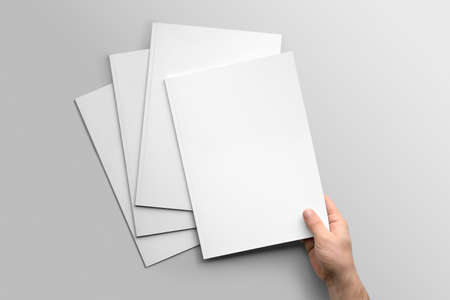 Blank A4 photorealistic mockup brochure on light gray background.