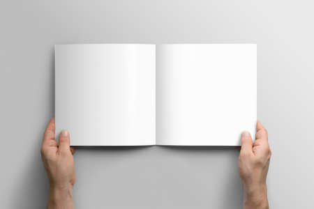 Blank square photorealistic brochure mockup on light gray background.