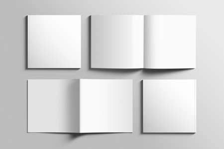 Blank square photorealistic brochure mockup on light gray background. Reklamní fotografie - 87245361