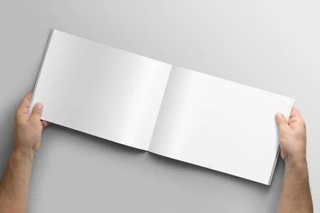 Vierge a4 brochure de paysage photoréaliste maquette sur fond gris clair Banque d'images - 87172424