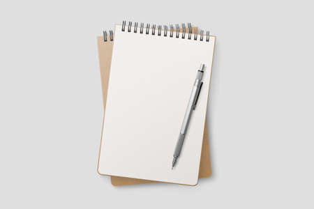 Blank realistic spiral bound notepad mockup. High resolution.